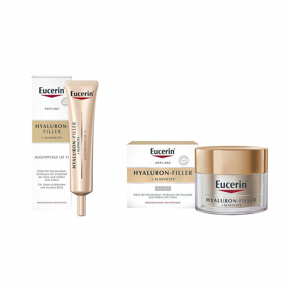 Image of Eucerin® Hyaluron-Filler + Elasticity Nachtpflege + Eucerin® Hyaluron-Filler + Elasticity Augenpflege