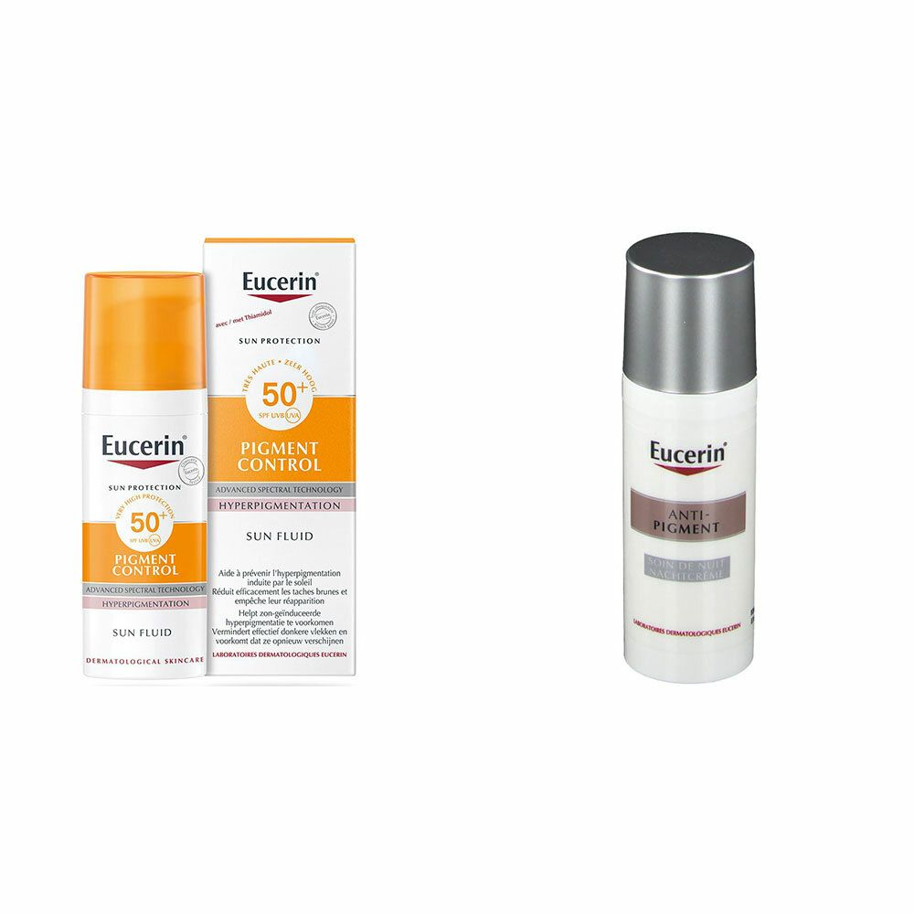 Image of Eucerin® Anti-Pigment Nachtpflege + Pigment Control Sun Fluid LSF 50+
