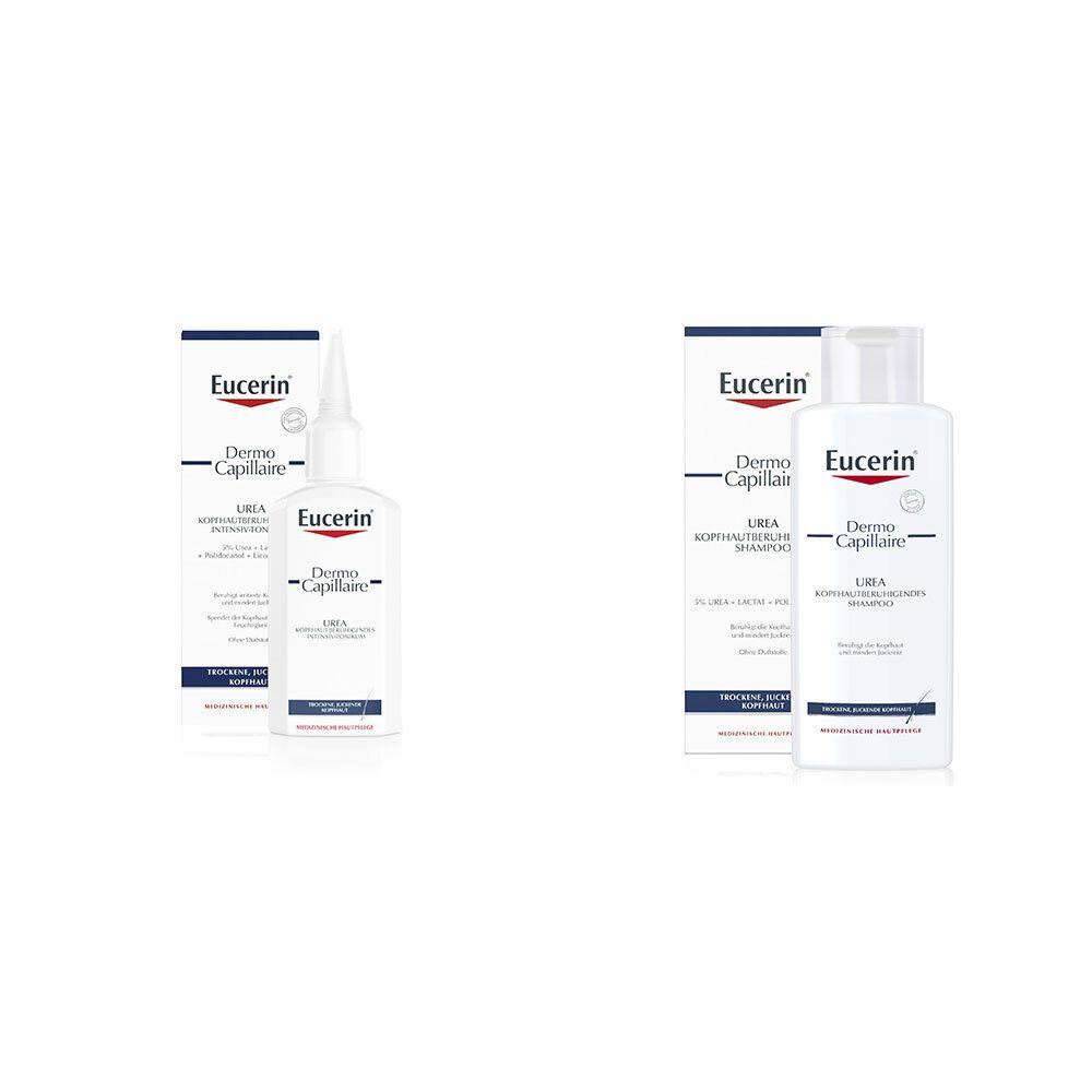 Image of Eucerin® DermoCapillaire Kopfhautberuhigendes Urea Shampoo + Eucerin® DermoCapillaire Kopfhautberuhigendes Urea Intensiv-Tonikum