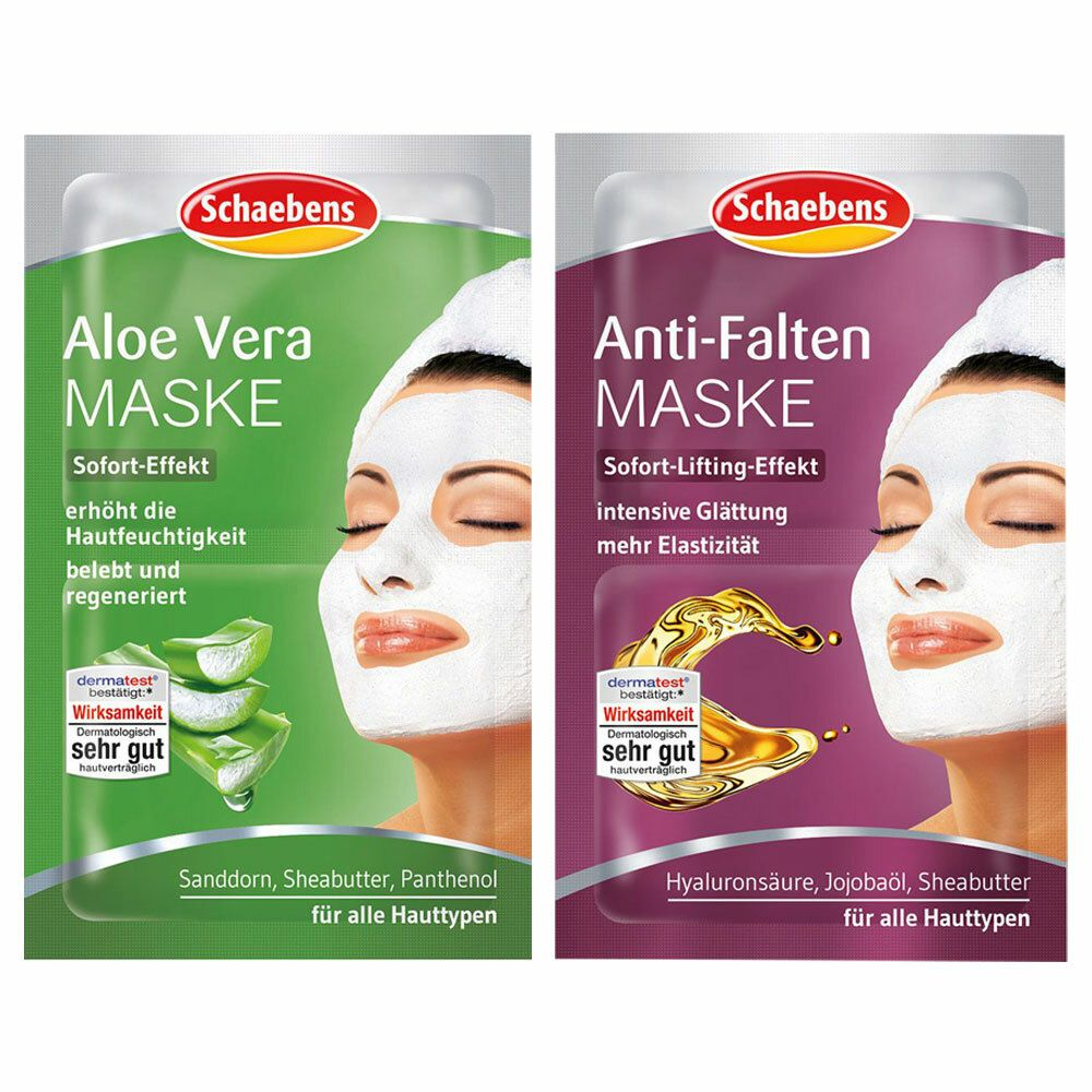 Image of Schaebens Anti-Falten Maske + Schaebens Aloe Ver Maske