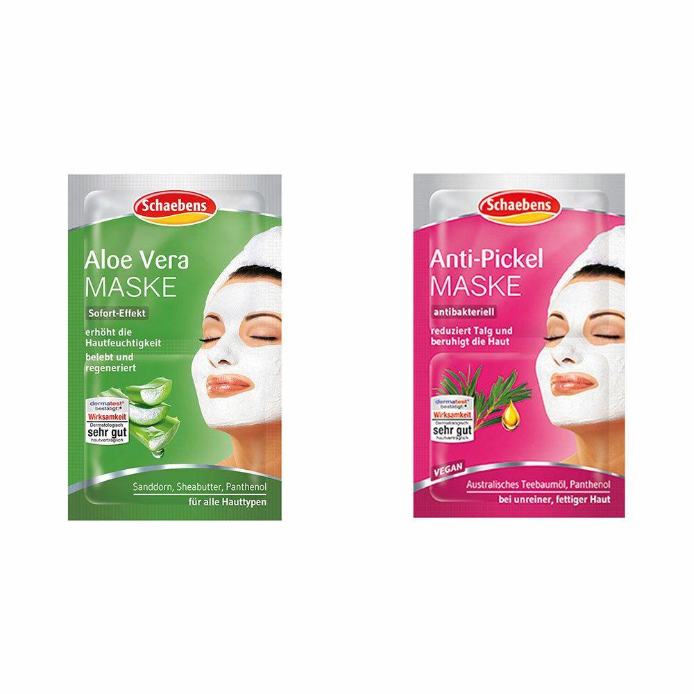 Image of Schaebens Aloe Vera Maske + Schaebens Anti-Pickel Maske antibakteriell