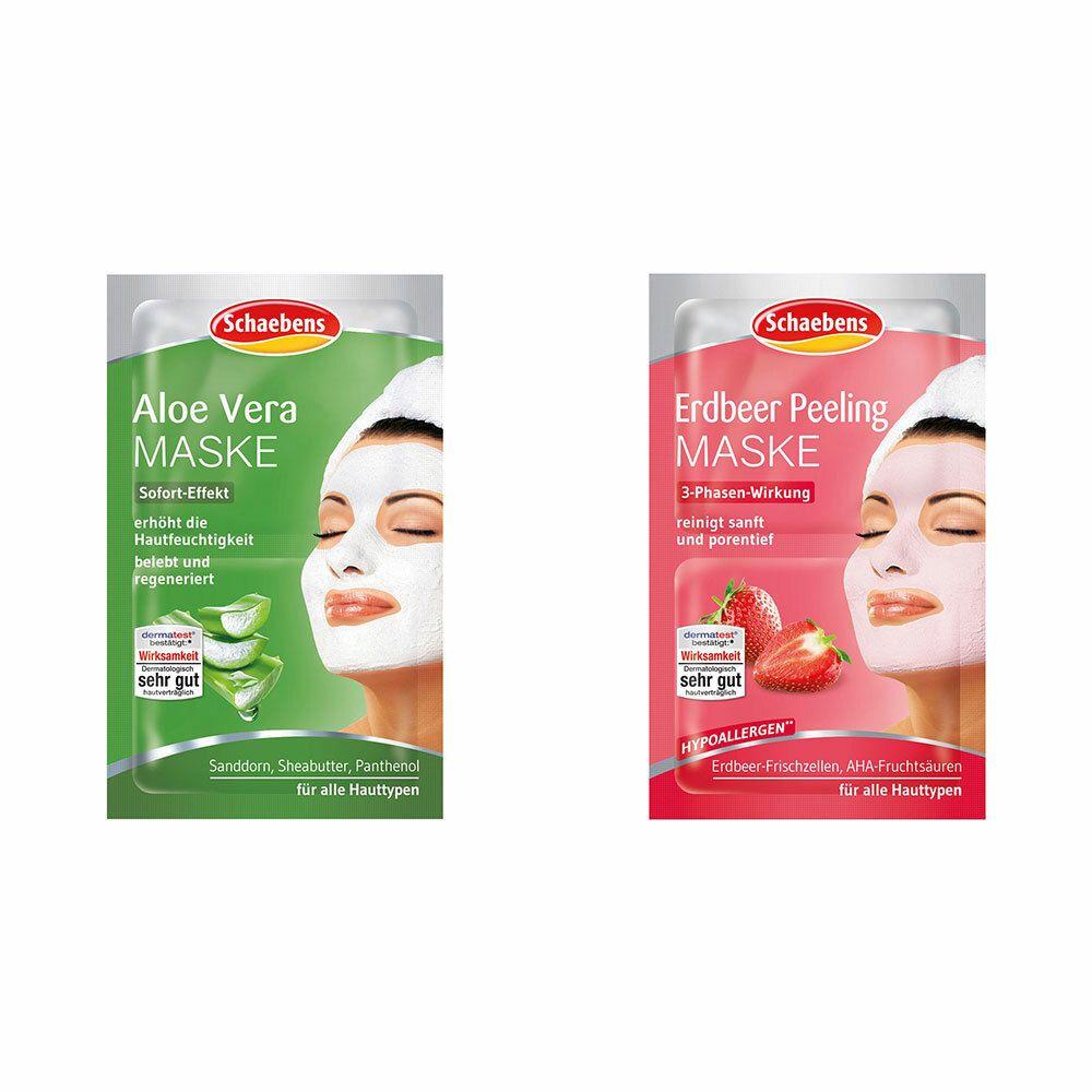 Image of Schaebens Aloe Vera Maske + Schaebens Erdbeer Maske